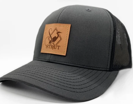 Southern Strut Leather Patch Hat Charcoal/Black