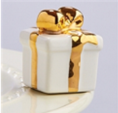 Nora Fleming Golden Wishes White Present Mini