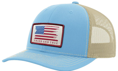 Tried & True Woven Flag Columbia Blue/Khaki Hat