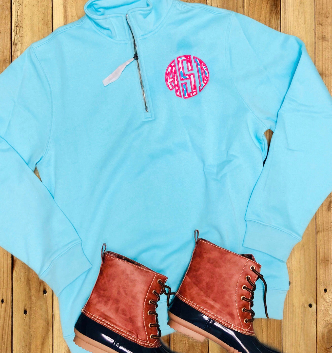 Lilly Monogrammed Quarter Zip (With Pockets)