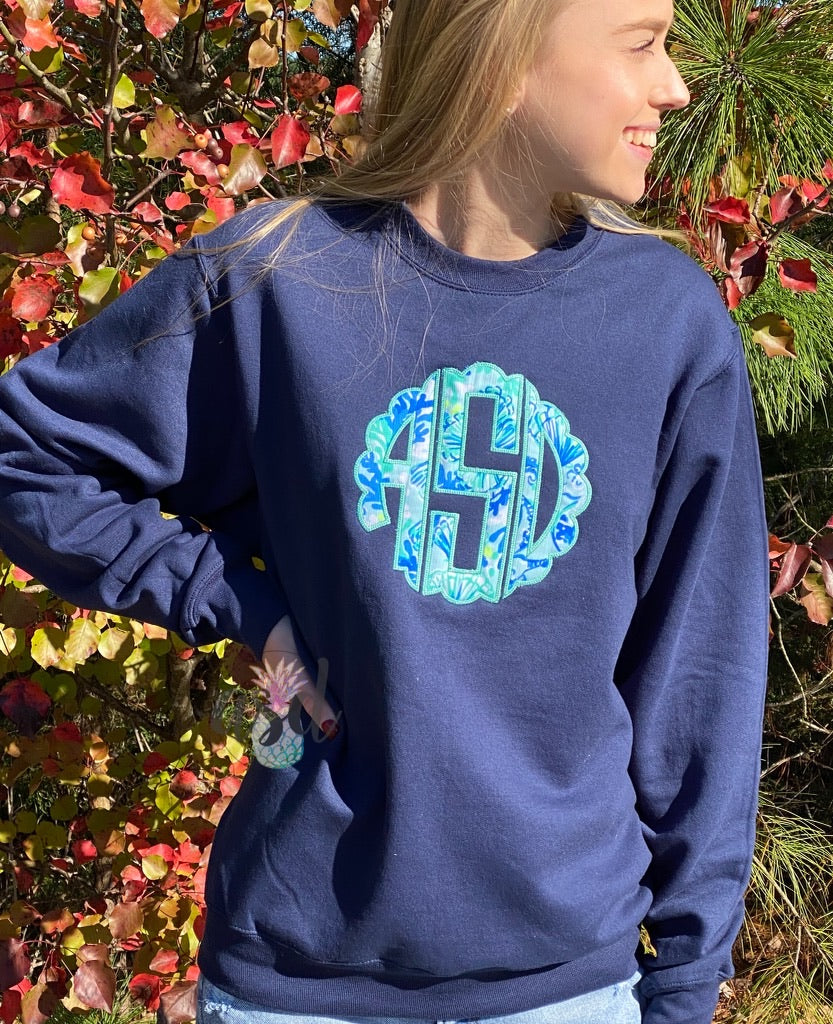 Lilly Scalloped Monogrammed Crewneck Sweatshirt