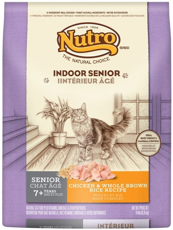 Nutro Indoor Senior Cat Chicken and Whole Brown Rice Formula Dry Cat Food