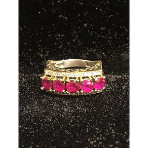 Gold plated silver ring with zirconium rubies - Vintage India NYC