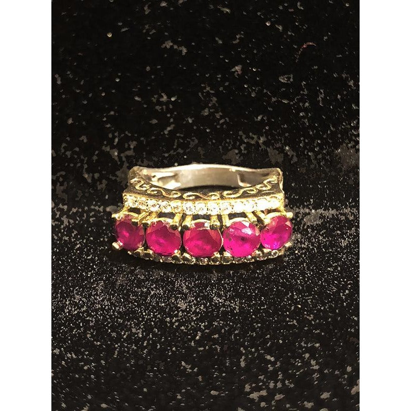 Gold plated silver ring with zirconium rubies