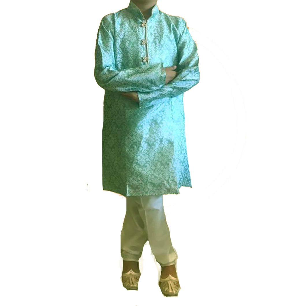 DT Boys Lt. Mint Brocade Kurta