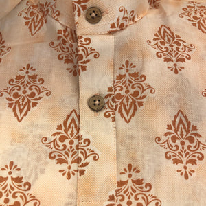 Boys Peach Blockprint Cotton Kurta - Vintage India NYC