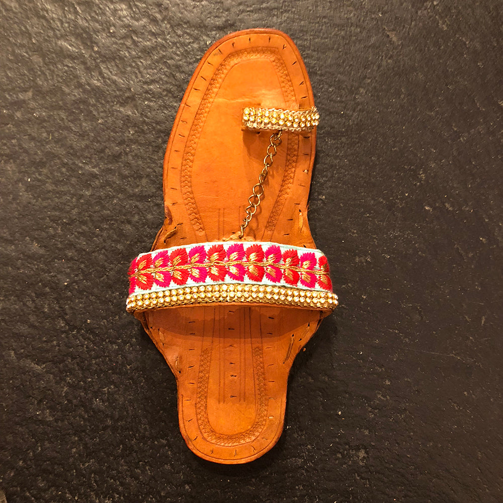 RP Handmade Indian Sandals-Teal/Pink chain - Vintage India NYC