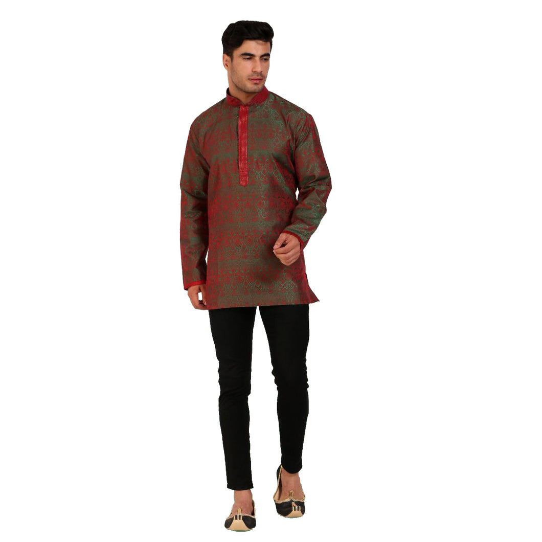 DT Forest & Red Brocade Short Kurta - Vintage India NYC