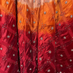 Vintage Tan Orange Red Ombre Embroidered Lehenga skirt - Vintage India NYC