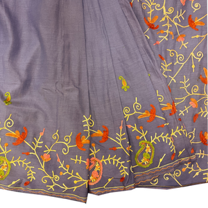 Lavender Cotton Silk Floral Embroidered Saree - Vintage India NYC