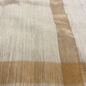Ivory Handwoven Silk  Saree - Vintage India NYC