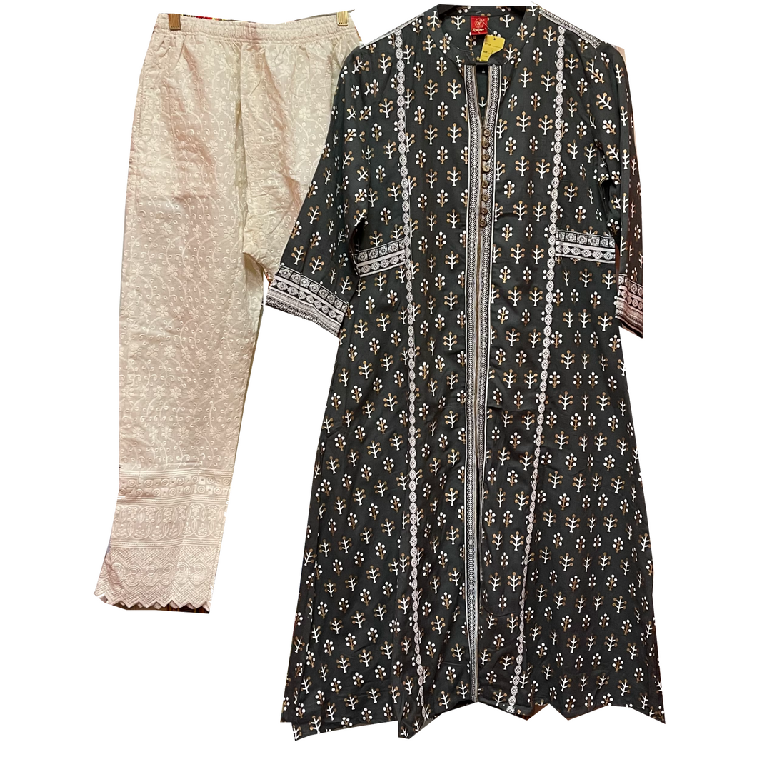 SH Block print Kurta w/Chikan Pants - 2 Colors - Vintage India NYC