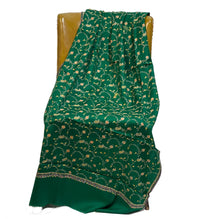 Green Embroidered Kashmiri Woolen Shawl - Vintage India NYC