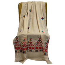 Cream Embroidered Shawl - Vintage India NYC