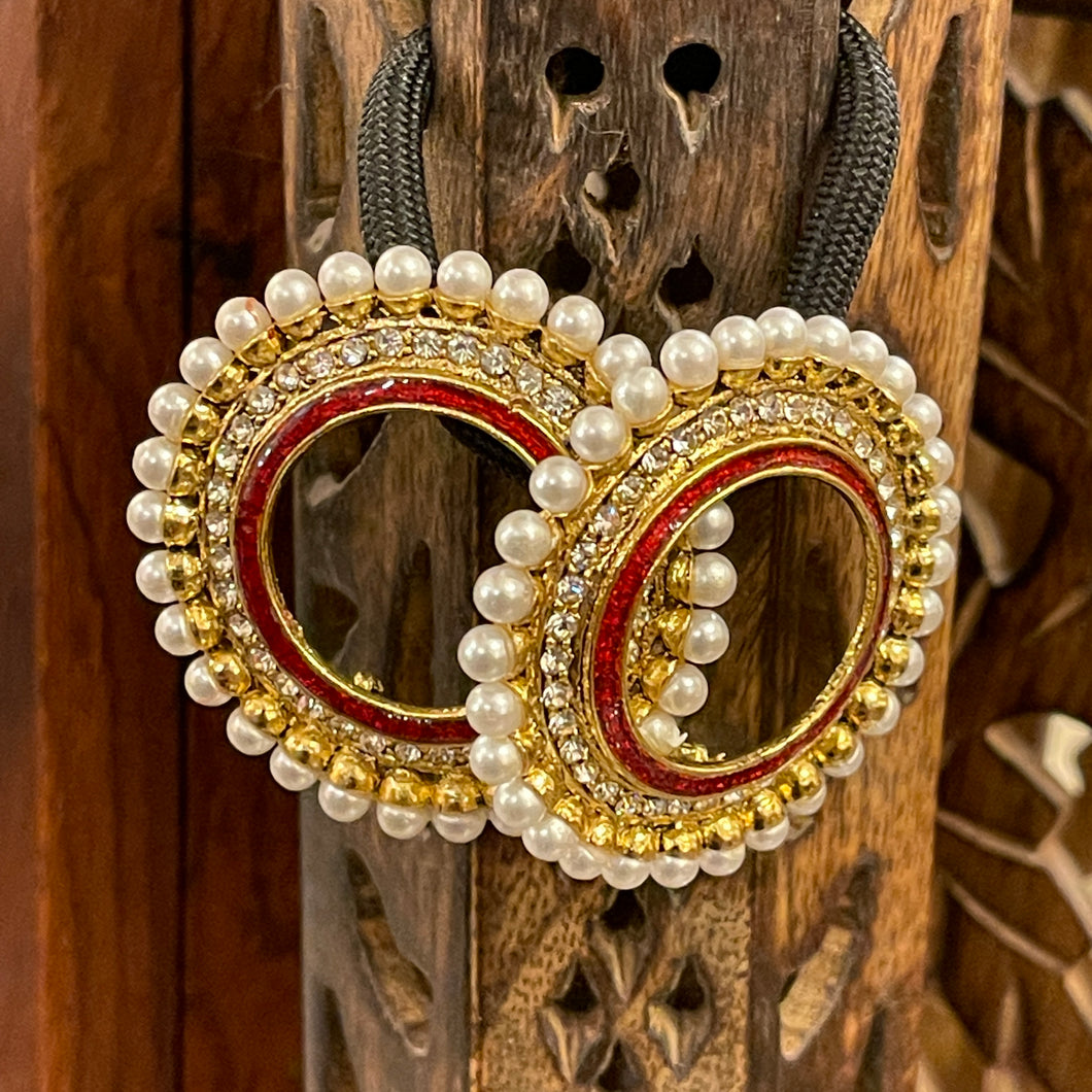 Red Round  Earrings - Vintage India NYC