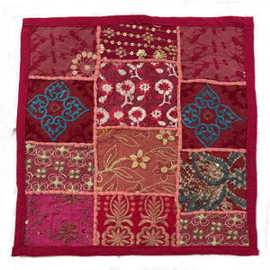 Handmade Dark Pink Patchwork Pillowcovers - 3 Styles - Vintage India NYC