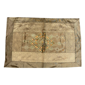 Gold Patchwork Pillow Cover - Vintage India NYC