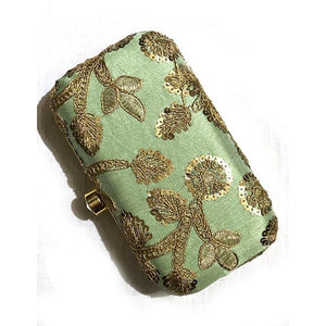 VM Embroidered Clutch-Lt Green - Vintage India NYC