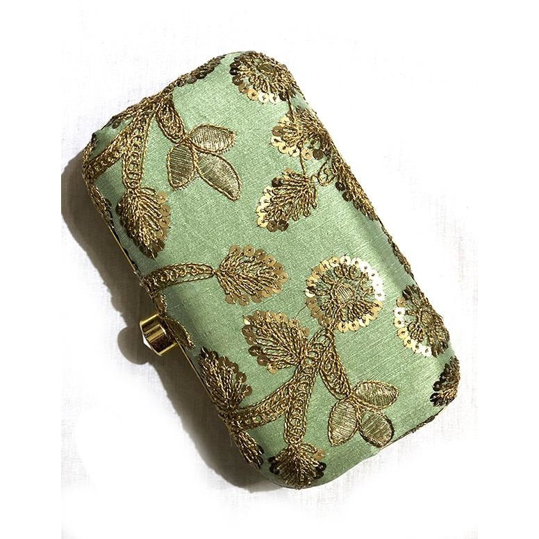 VM Embroidered Clutch-Lt Green