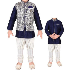 MJ Boys Indowestern 3pc set-Navy