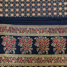 JM Navy Block Print Bed Cover 1 - Vintage India NYC