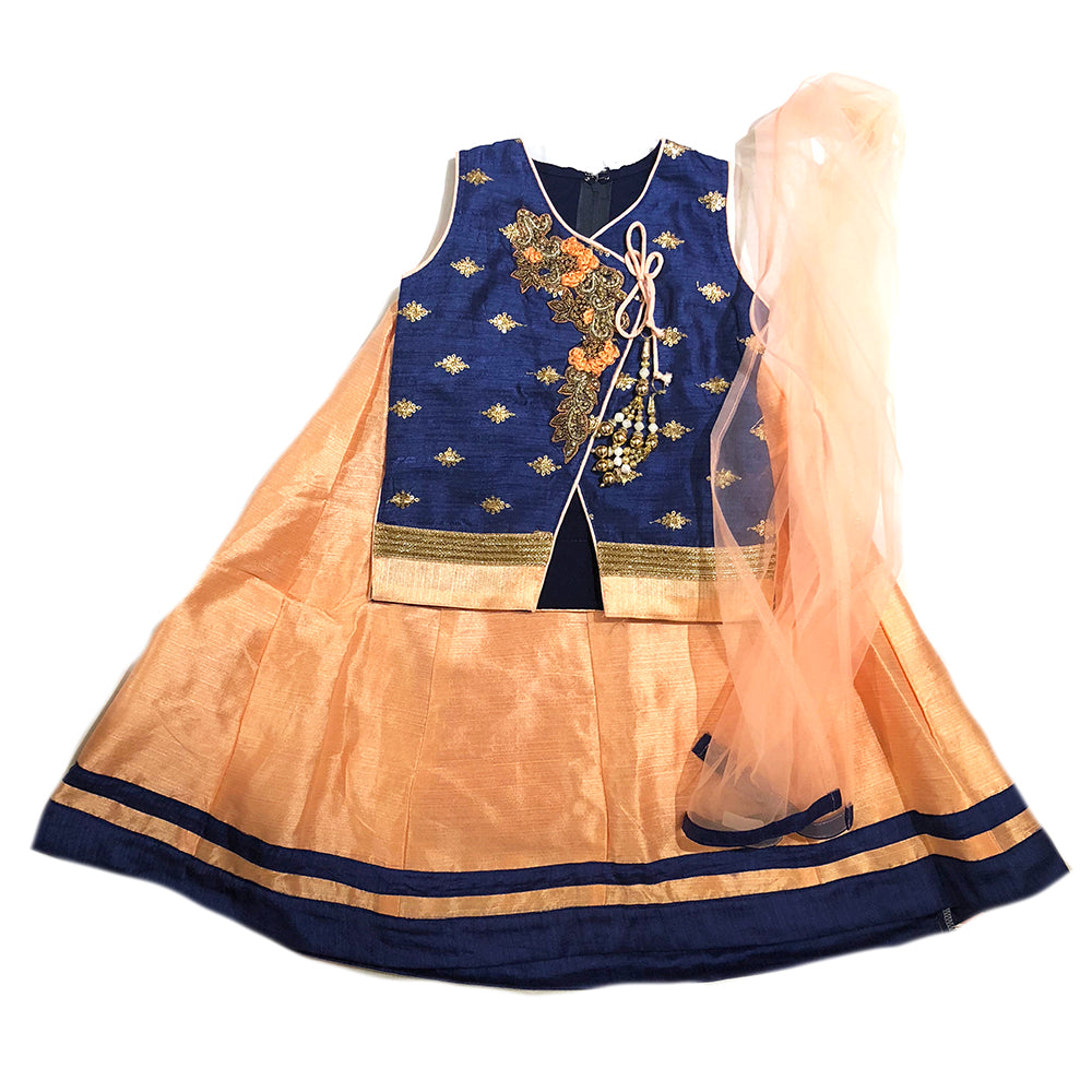 Girls Navy and Peach Lehenga Set - Vintage India NYC