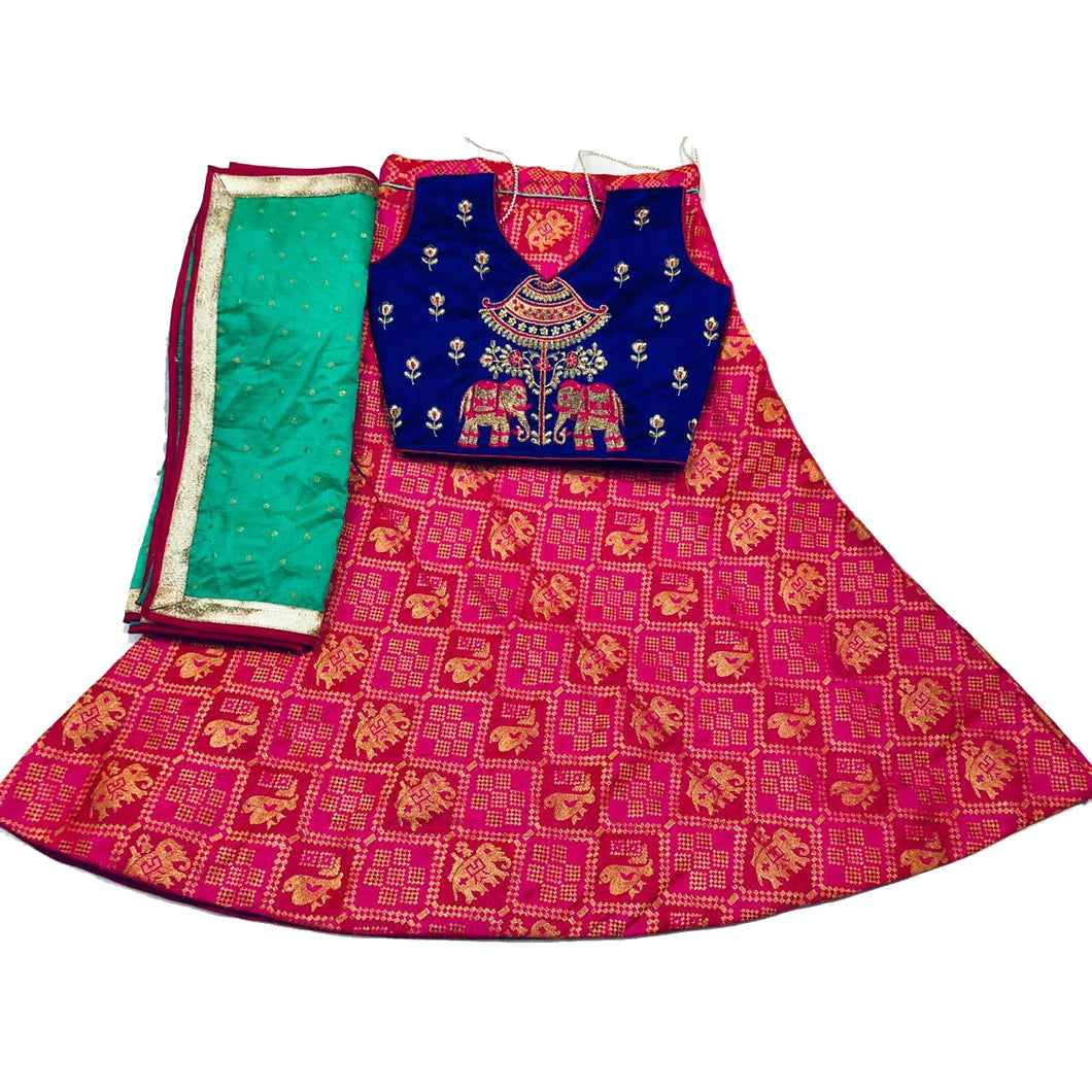 Girls Pink Lehenga Set - Vintage India NYC