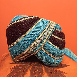 Turquoise and brown knit turban