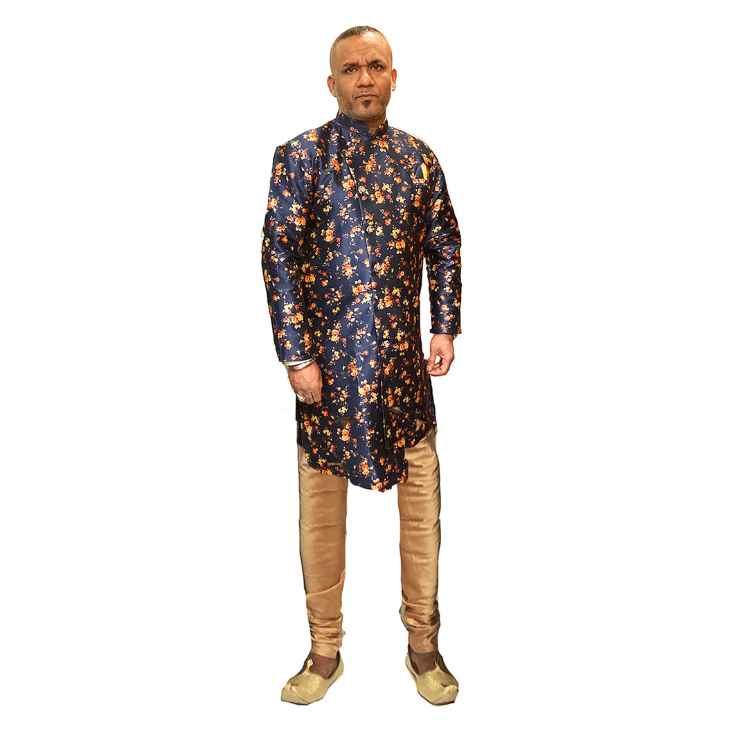YD Navy Floral Semi Sherwani - Vintage India NYC