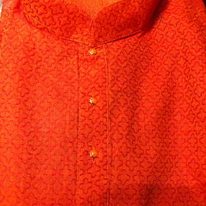 YS Orange Cotton Kurta Set - Vintage India NYC