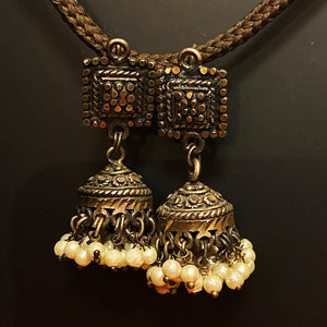 Oxidized Silver Jhumka Indian Earrings with pearls - Vintage India NYC