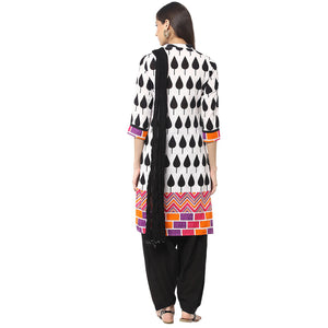 JK Black & White Linen Salwar Suit - Vintage India NYC