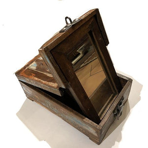 AE Wooden Barber Box/Mirror 75 - Vintage India NYC