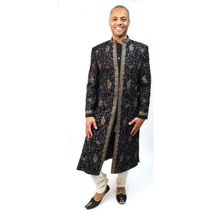 Black & Gold Sherwani - Vintage India NYC
