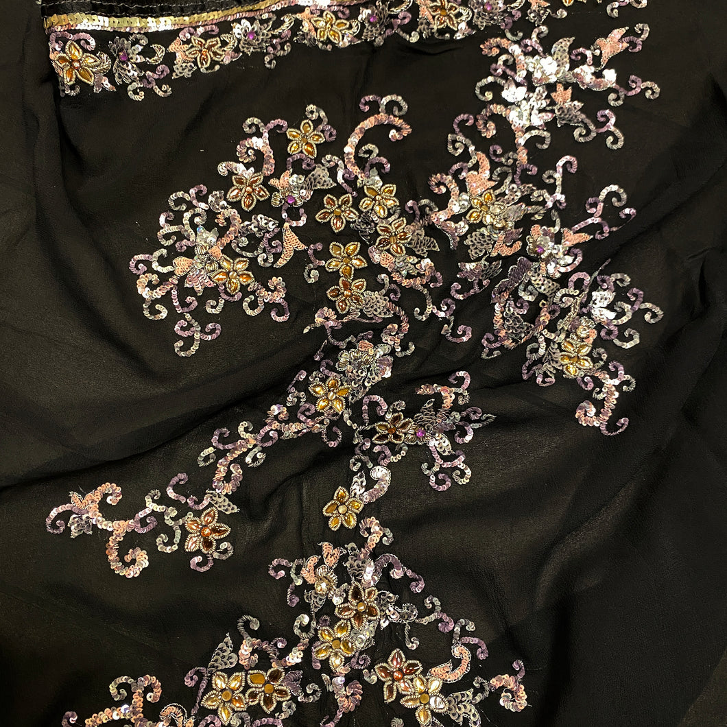 Vintage Black  Heavy Work Dupatta Scarf - Vintage India NYC