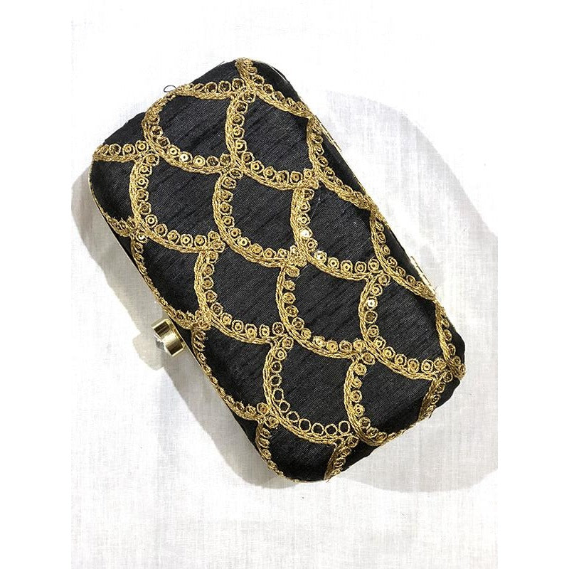 VM embroidered clutch-Black scallop - Vintage India NYC
