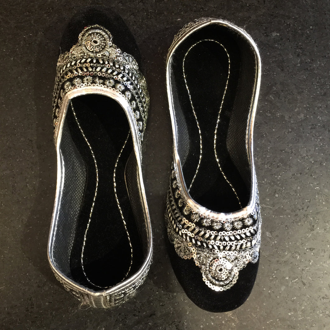Black Velvet Jutti with Silver Sequins - Vintage India NYC