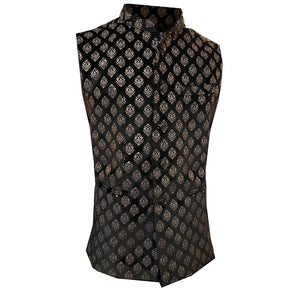 YD Black Velvet Block Print Vest - Vintage India NYC