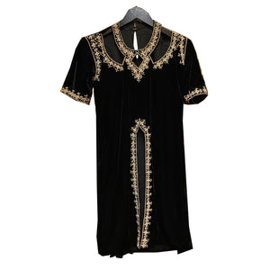 Vintage Black Velvet Cutout Kurti - Vintage India NYC