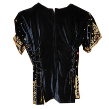 Black Velvet Top with Zardosi Embroidery - Vintage India NYC