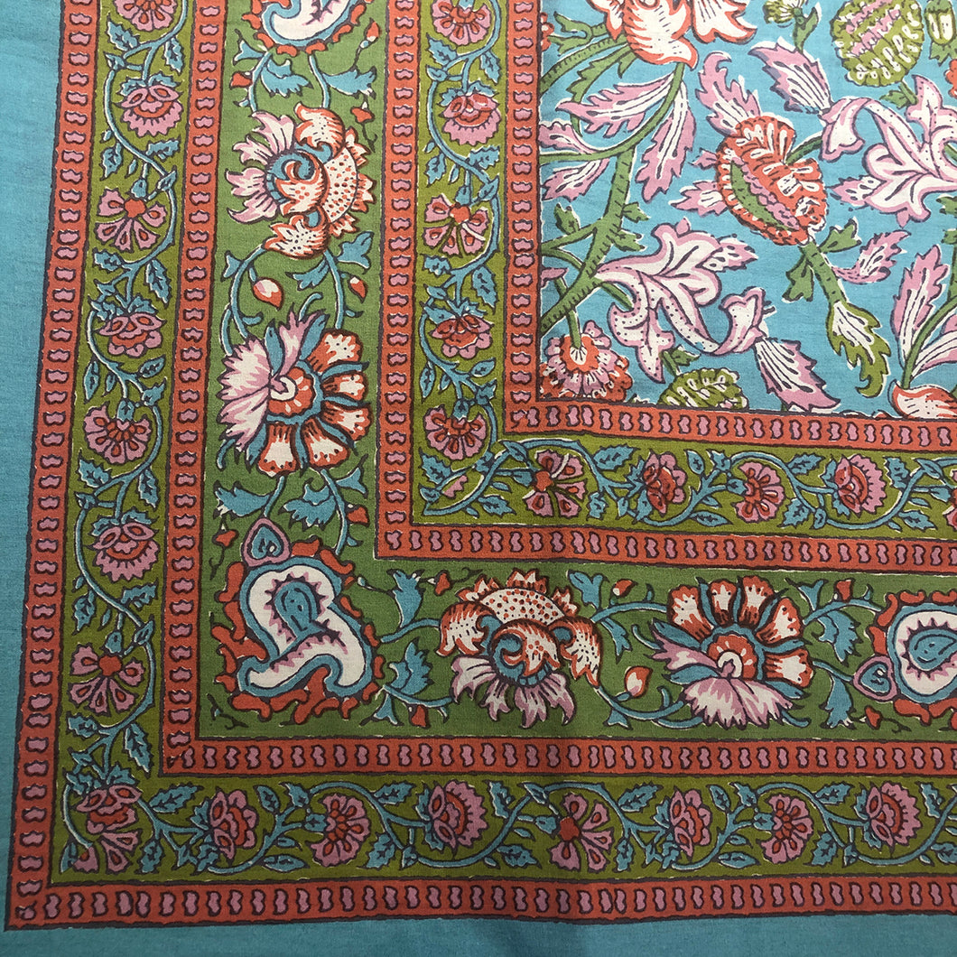 BR Blue Block Print Bedcover Collection - Vintage India NYC