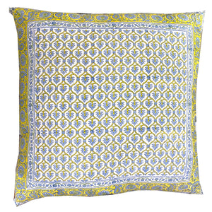 Provencal Block Print Pillow Cover 24x24 - Vintage India NYC