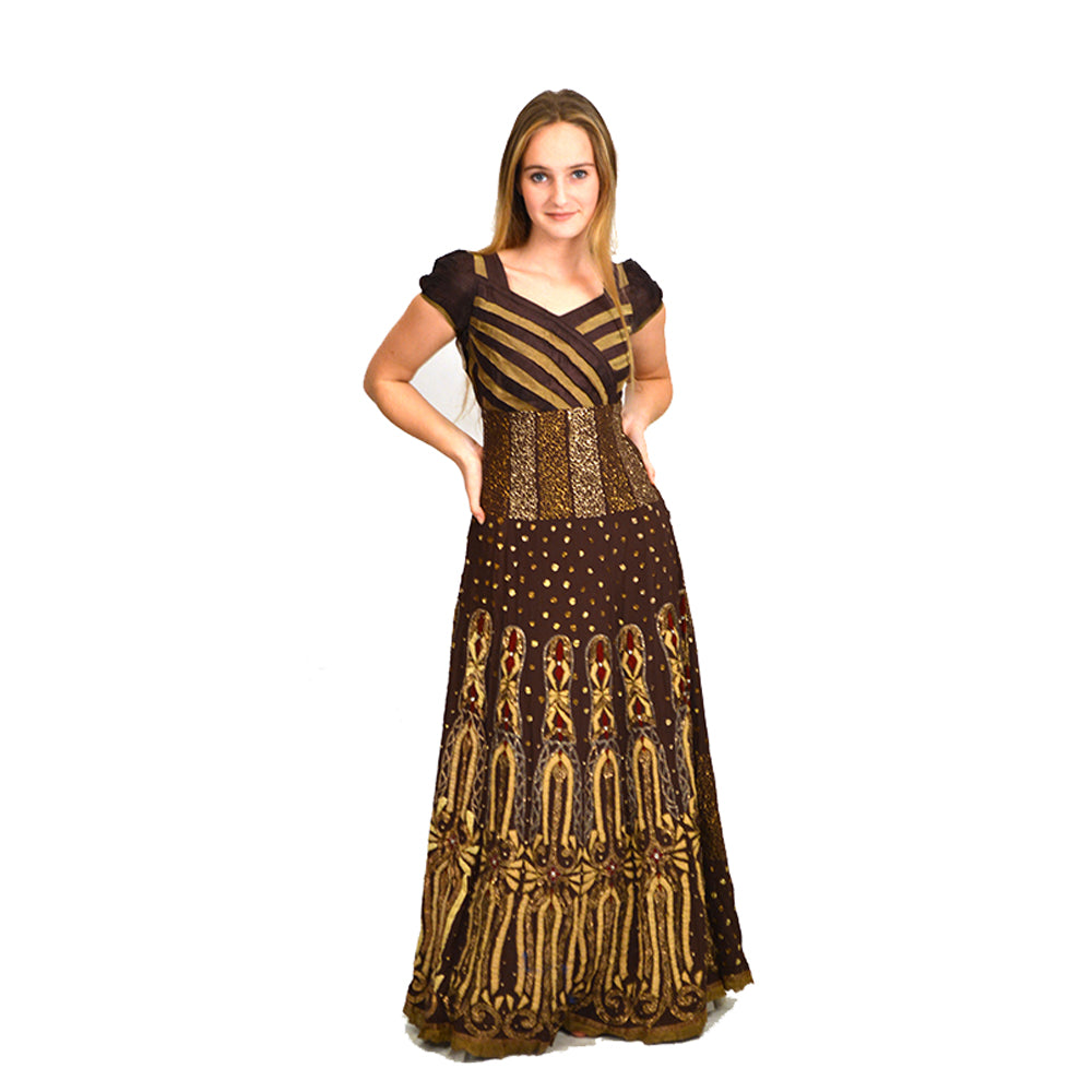Brown & Gold Vintage Indian Gown-