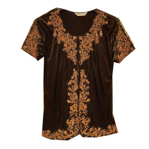 Brown Velvet Top with Zardosi Embroidery - Vintage India NYC