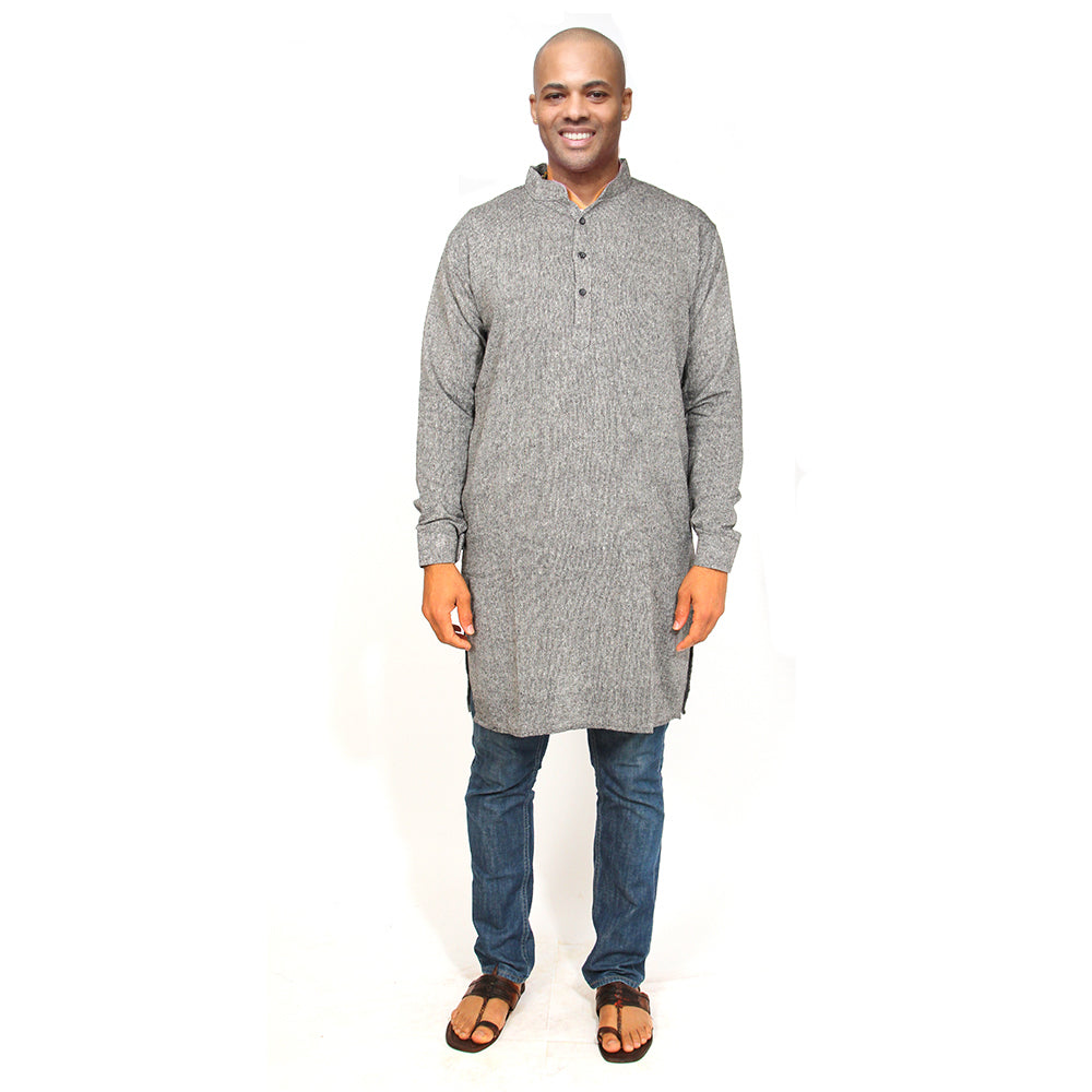 Organic cotton kurta charcoal - Vintage India NYC
