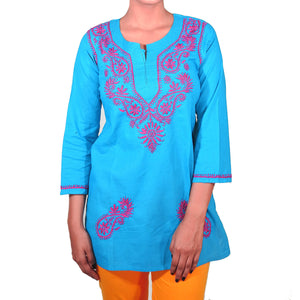 AR Short Embroidered Cotton Tunic Kurti-XXL - Vintage India NYC