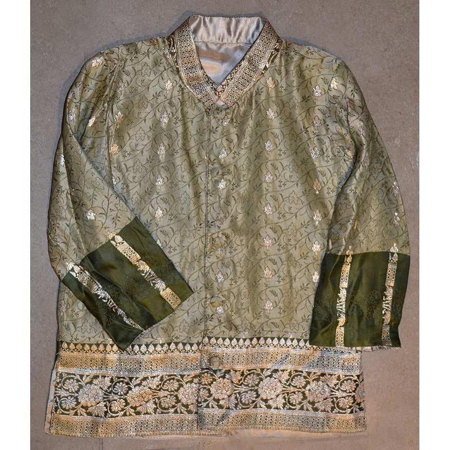 Green & gold children's dress jacket - Vintage India NYC