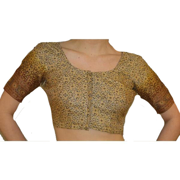 Tan & black print choli