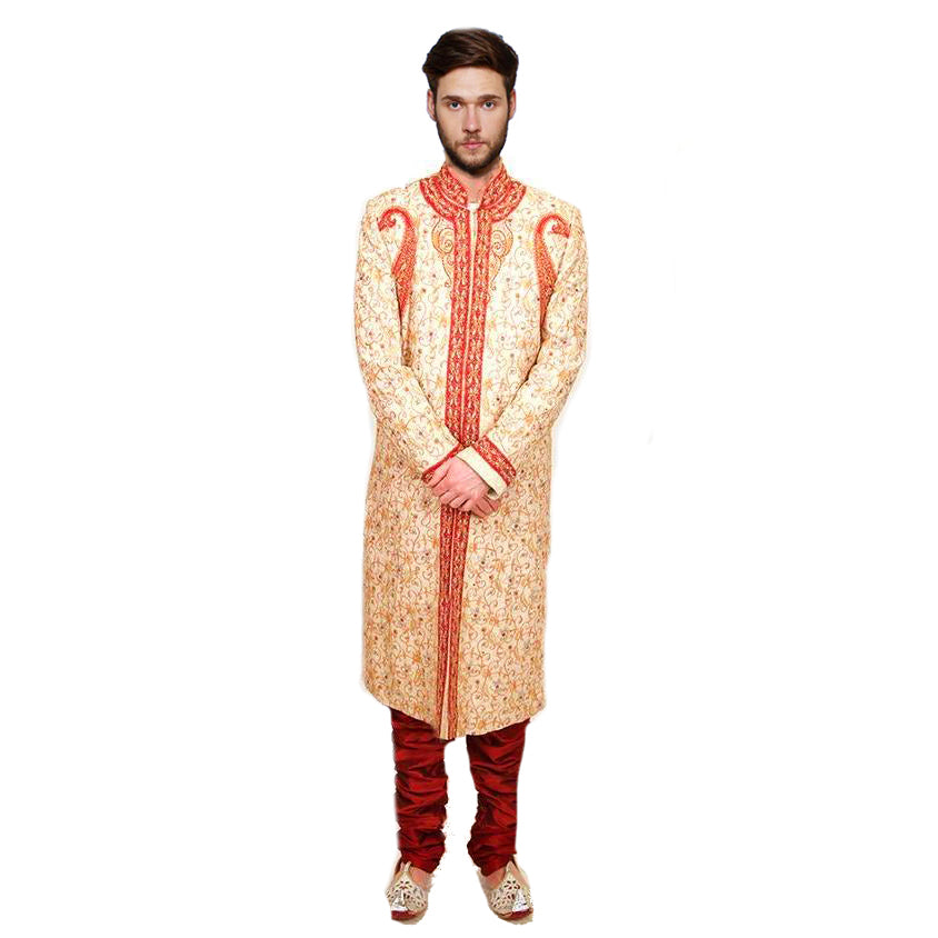 Cream and Red Sherwani