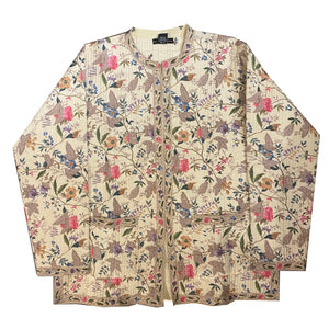 Cream Floral Quilted Jacket - Vintage India NYC